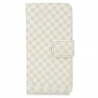 Checked Style Protective PU Leather Case for iPhone 5 - White + Beige