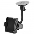 Multifunctional Car Mounted 360' Rotating ABS + PVC Holder for Cellphone / GPS - Black