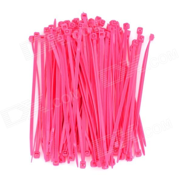 PE Plastic Cable Management Ties - Deep Pink (100 PCS)