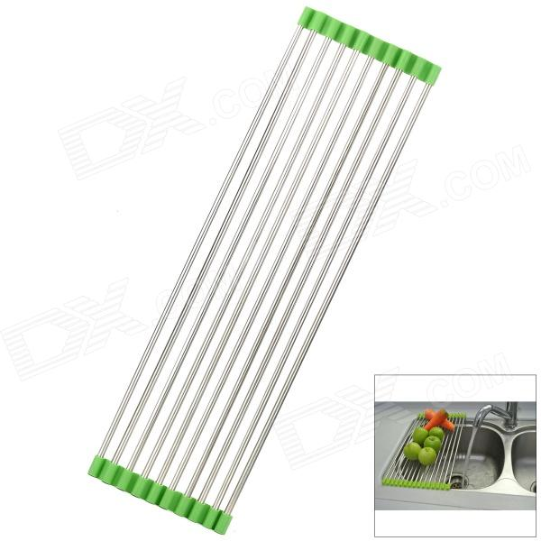 203 Lengthen Foldable Stainless Steel Drain Rack - Silver + Green mini stainless steel handle cuticle fork silver