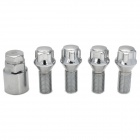 4 + 1 Chromium Plated Forged Steel Car Wheel Anti-Theft Nut Screw - Silver