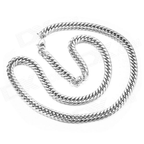 "eQute PSSM2C1 Men's Titanium Steel Wide Link Chain Necklace - Silver (22"")"