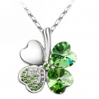 "Elegant Four Leaf Clover Pendant Necklace - Green + Silver (16"")"