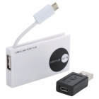 Micro USB OTG 4-Port USB 2.0 Hub for Smartphone - White