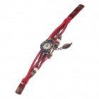 Tingyi Stylish Retro PU Leather + Rope Watch Band Quartz Watch for Women - Red + Bronze (1 x LR626)