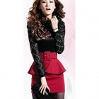 Woman's Fashionable Lace + Cotton Joint Skinny Dress - Black + Red
