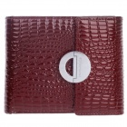 061 High Grade Alligator Pattern Regenerated Leather Folding Unisex Wallet - Crimson