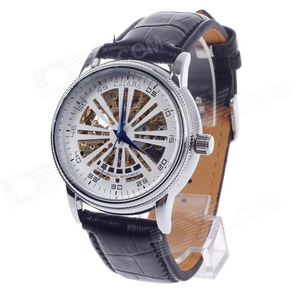CJIABA GK8020 Fashion PU Leather Band Mechanical Wrist Watch for Men- Black + Golden + White cjiaba gk8001 w pu leather band analog skeleton mechanical wrist watch for men black white