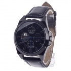 CJIABA GX507 Cow Split Leather Band Mechanical Men's Analog Wrist Watch - Black