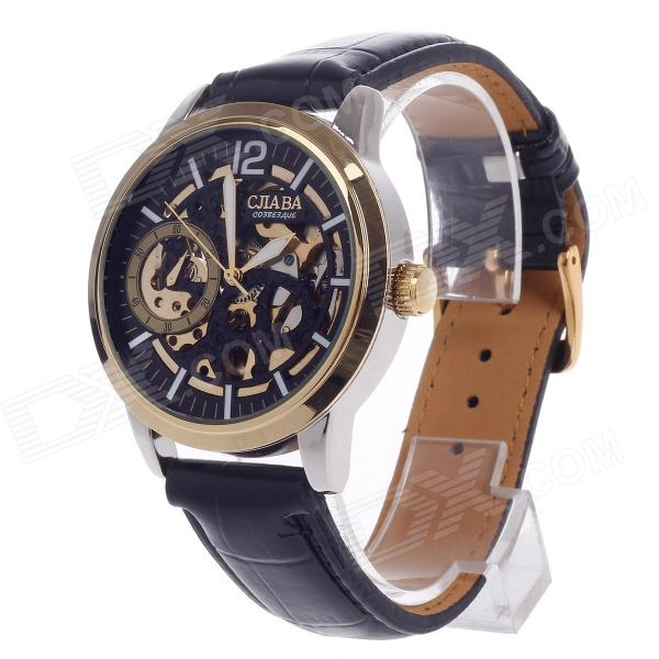 CJIABA GK8002 Skeleton Automatic Men's Wrist Watch - Black + Golden + White