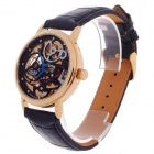 CJIABA High Grade Double-Sided Skeleton Automatic Men's Analog Wrist Watch - Black + Golden + Blue