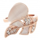 Fashionable Leaf Style Opal Decoration Ring for Women - Golden (UK Size 18)
