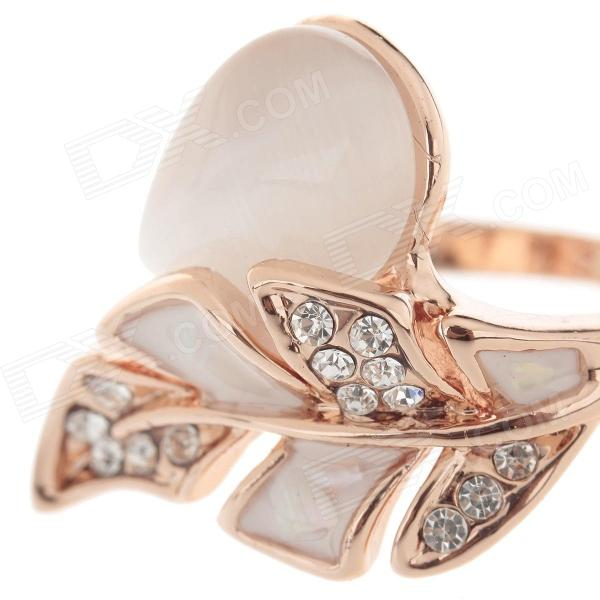Fashionable leaf style opal decoration ring for women for 5 golden rings decorations