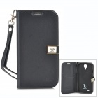 Ailun Protective PU Leather Case w/ Strap / Card Slots for Samsung Galaxy S4 - Black
