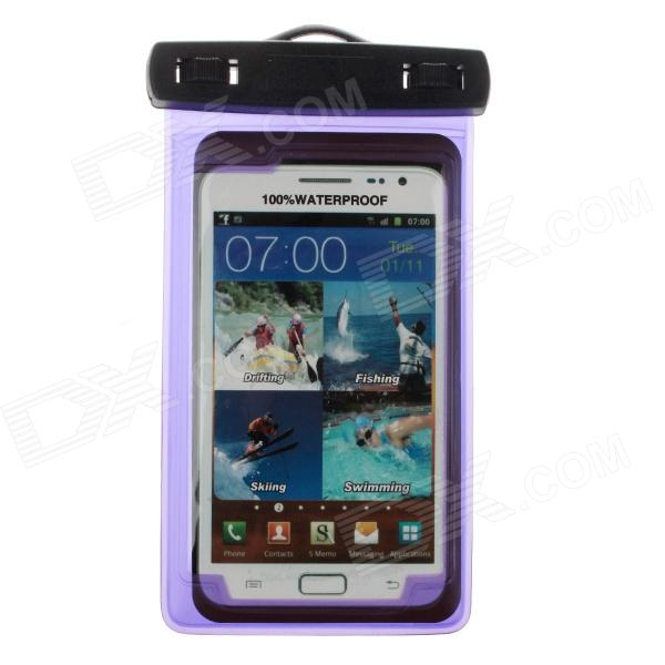 Protective Waterproof Bag Case w/ Strap / Armband for Samsung Note 2 N7100 - Translucent Purple waterproof bag pouch w compass armband neck strap for iphone 5 4 4s camouflage green