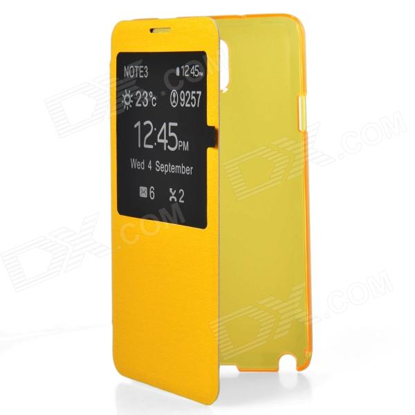 цены  TEMEI Protective PU Leather Case Cover w/ Visual Window for Samsung Galaxy Note 3 N9000 - Yellow