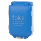 E-821 Portable 3 Layer 8 Compartment Medicine Pill Case Box - Blue + White