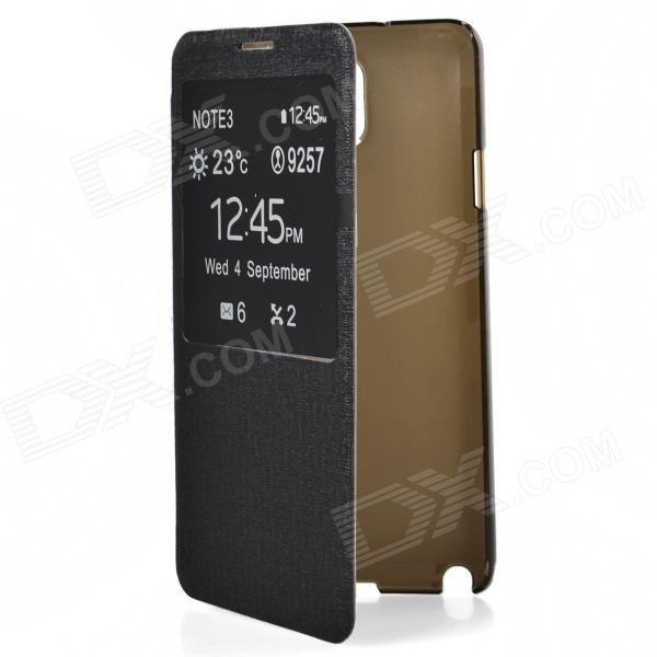 TEMEI Protective PU Leather Case Cover w/ Visual Window for Samsung Galaxy Note 3 N9000 - Black