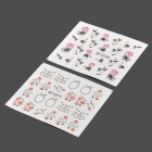 XF12701271 Lips and Flowers Pattern DIY Nail Art Stickers - Multicolored (2 PCS)