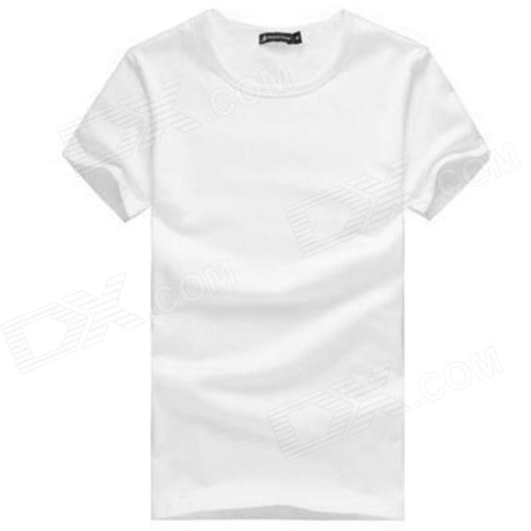 Men's Fashionable Simple Cotton T-shirt - White (L)