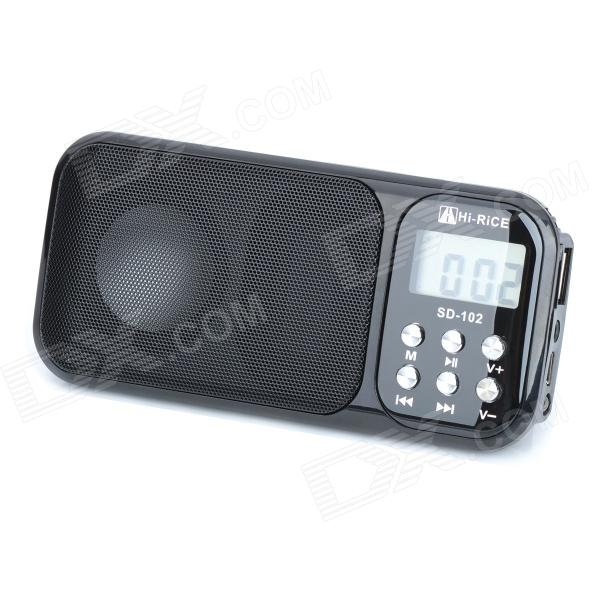 HI-RICE 1.2 LCD  Portable Media Player Speaker w/ USB 2.0, TF, FM, Clock, Calendar, Torch - Black n74u portable media player speaker magaphone w tf usb fm microphone black