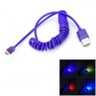 Lighting USB to Micro USB Charging / Data Spring Cable for Samsung S3 / S4 - Purple