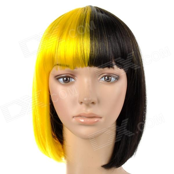 6367 2-DF3 Stylish Middle Separated Color Short Straight Silk Hair Wig - Black + Yellow
