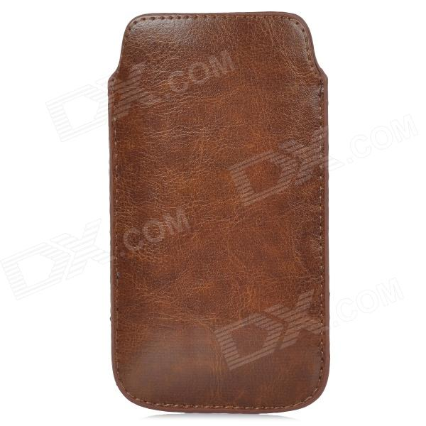 Protective Cord Pull PU Leather Case Pouch Bag for Samsung i9295 Galaxy S4 Active - Brown
