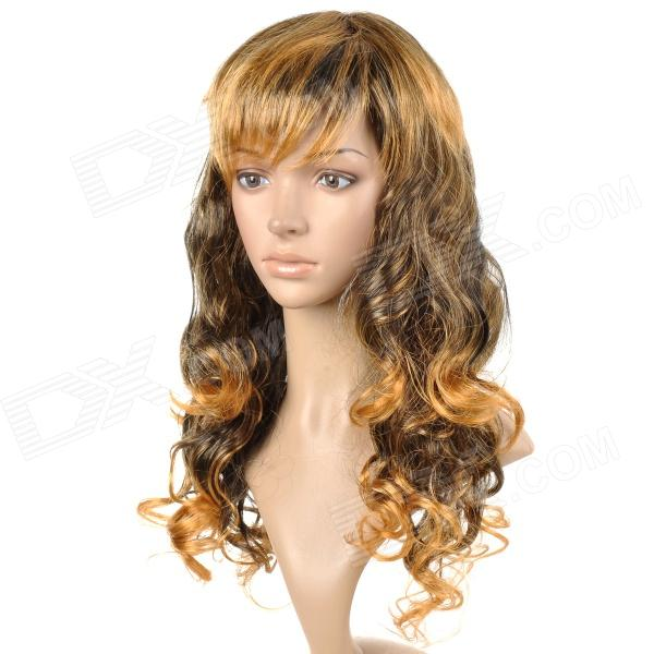 Stylish Kanekalon Fiber Long Curly Hair Wig - Golden 0003588 curly yellow blonde golden gold cosplay hi temp wig