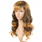 Stylish Kanekalon Fiber Long Curly Hair Wig - Golden