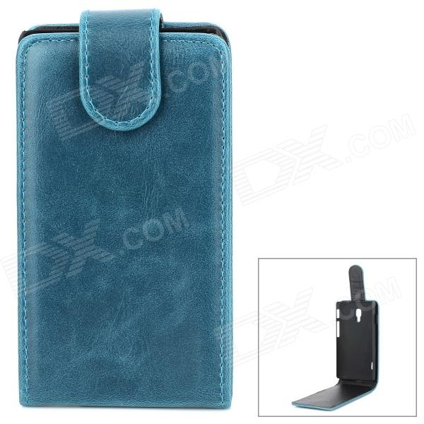 Protective PU Leather + Plastic Case for LG Optimus L7 II - Blue + Black protective pu leather case for lg optimus 3d p920 black