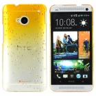 Water Drop Gradual Change Style Protective Plastic Back Case for HTC One M7 - Yellow + Transparent