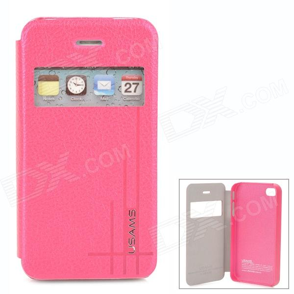 USAMS IP4SXK04 Protective Flip Open Case w/ Display Window for Iphone 4 / 4S - Deep Pink usams ip4sxk04 protective flip open case w display window for iphone 4 4s deep pink