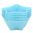B006 Five-Pointed Star Style Silicone Cake Muffin DIY Molds - Light Blue (6 PCS)