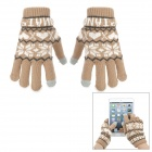 Snowflake Pattern Wool Capacitive Screen Touching Hand Warmer Glove - Brown + White