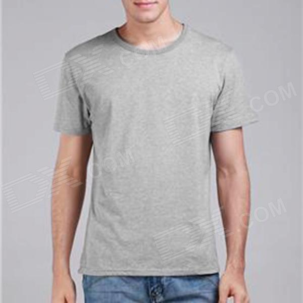 Men's Classic Plain Cotton T-shirt - Gray (XL)