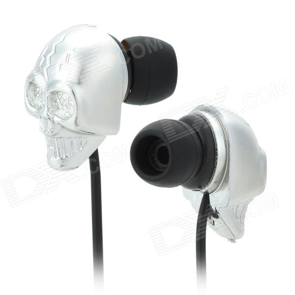 4565 Skull Style In-Ear Earphone for MP3 / MP4 / Cellphones - Black + Silver