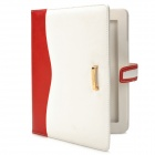 Commercial Style Protective PU Leather Case w/ Card Slots for Ipad 2 / 3 / 4 - White + Red