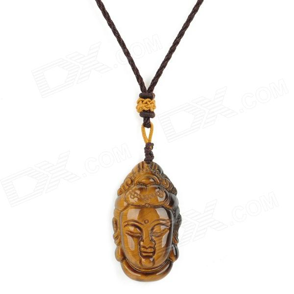 Avalokitesvara Style Pendant Tiger's Eye Necklace - Brown