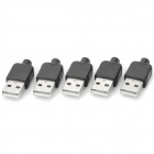 Yaosheng Type A 4pin USB Male Power Adapters / Connectors - Black + Silver (5 PCS)