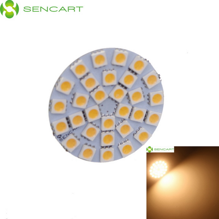SENCAER G4 3W 145lm 3000K 30-SMD 5050 LED Warm White Light Car Bulb - Yellow + White lx 3w 250lm 6500k white light 5050 smd led car reading lamp w lens electrodeless input 12 13 6v