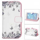 S4 Schmetterling Muster Protective PU + Silikon Case w / Stand für Samsung S4 - White + Black + Pink