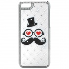 Hat / Glasses / Beard Pattern Protective Back Case for Iphone 5C - White + Silver + Black + Red