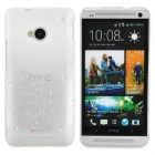 Water Drop Pattern Protective Plastic Back Case for HTC ONE(M7) - White + Transparent