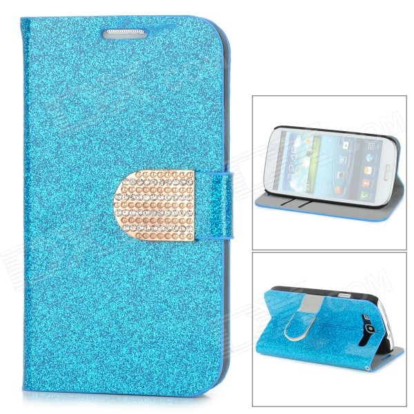 Purse Type Protective Flip-open Case for Samsung Galaxy S3 i9300 w/ Card Slots / Stand - Blue protective flip open pu case w stand card slots for samsung galaxy s3 mini i8190