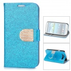 Purse Type Protective Flip-open Case for Samsung Galaxy S3 i9300 w/ Card Slots / Stand - Blue