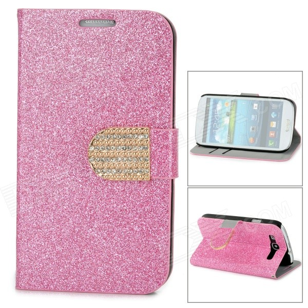 Purse Type Protective Flip-open Case for Samsung Galaxy S3 i9300 w/ Card Slots / Stand - Deep Pink protective pu leather flip open case w stand for samsung note 3 n9000 deep pink light green