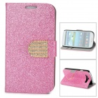 Purse Type Protective Flip-open Case for Samsung Galaxy S3 i9300 w/ Card Slots / Stand - Deep Pink