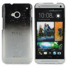 Water Drop Pattern Protective Plastic Back Case for HTC ONE(M7) - Black + Transparent