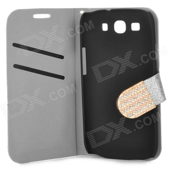 Purse Type Protective Flip-open Case for Samsung Galaxy S3 i9300 w/ Card Slots / Stand - Silver protective flip open pu case w stand card slots for samsung galaxy s3 mini i8190